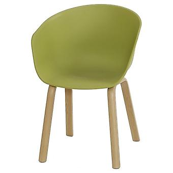 Fusion Living Eiffel Inspired Green Plastic Armchair With Light Wood Legs