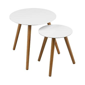 Fusion Living White Nido de mesas de alto brillo con patas de madera