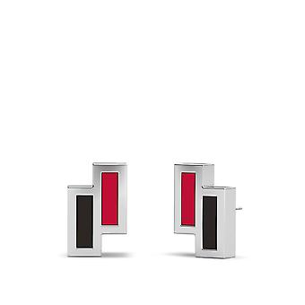 Cincinnati Reds Sterling Silver Asymmetric Enamel Stud Earrings In Red and Black