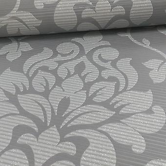 Grau Silber Floral Damast Glitter Wallpaper Streifen geprägt Grandeco Elite