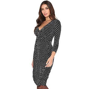 KRISP Womens Fit Polka Dot Swing Kleid Low Cut Gathered Taille 3/4 Ärmel wickeln