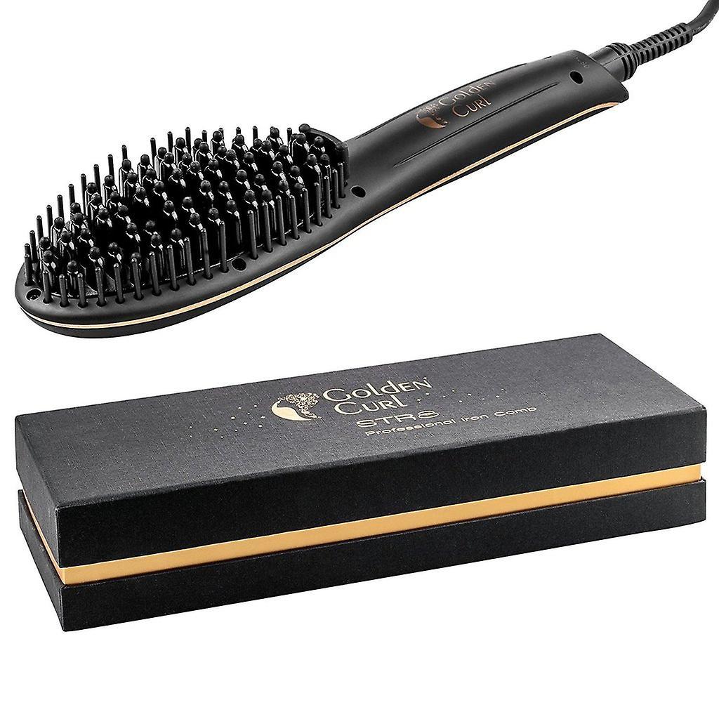 Golden Curl Str8 hair straighteners brush