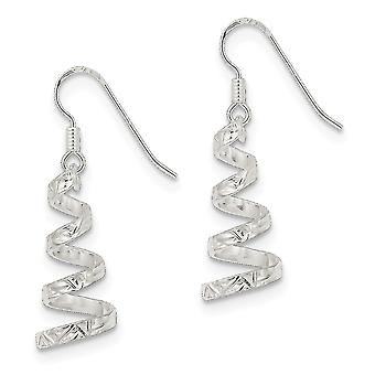 925 Sterling Silver Twisted Polished Shepherd crochet Twist Dangle Boucles d'oreilles - 2.0 Grammes