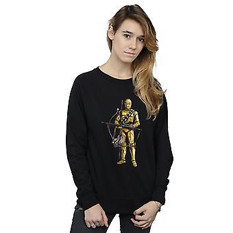 Star Wars The Rise Of Skywalker C-3PO Chewbacca Bow Caster Women's Sweatshirt