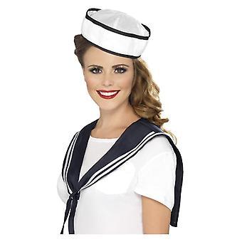 Womens Sailor sjaal & Hat Fancy Dress accessoire