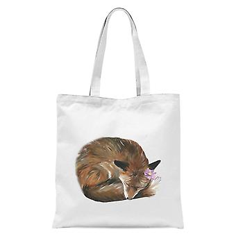 Curled Up Vixen Tote Bag - White