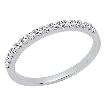 Dazzlingrock Collection 0,25 Carat (CTW) 10K rund hvid diamant damer bryllup stabelbar band 1/4 CT, hvid guld