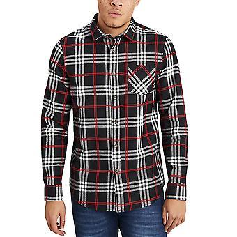 Rohkea sielu miesten Enrico pitkähihainen painiketta alas harjattu Check paita pusero-musta