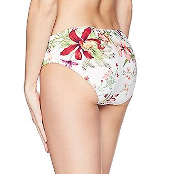Carmen Marc Valvo Women's Bikini Bottom Swimsuit with Shirred Detail, White, ...