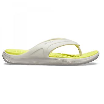 Crocs 205545 Reviva Flip Mens Flip Flip يتخبط بيرل وايت / الحمضيات