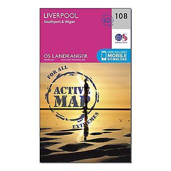 New Ordnance Survey Landranger Active 108 Liverpool Southport & Wigan Map Orange