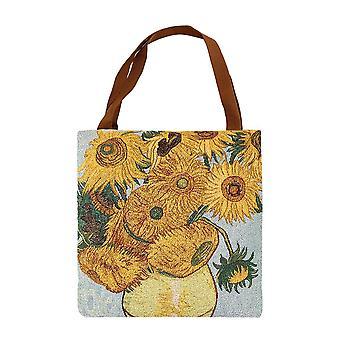 Van gogh - sunflowers shopper gusset bag by signare tapestry / guss-art-vg-sunf