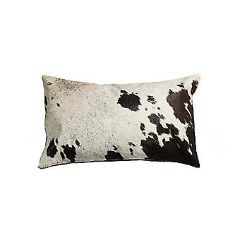 """18"""" x 18"""" x 5"""" Salt And Pepper Chocolate And White Cowhide - Pillow"""