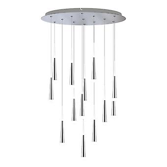 Industrial Hanging Chrome Ceiling Lamp 13 Pendant Rectangular Canopy Light New Bi -Directional  lighting