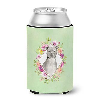 Sininen Pit Bull terrieri vihreä kukkia voi tai pullo Hugger