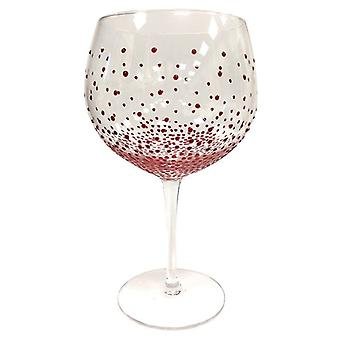 Sunny av Sue Hand Painted gin & tonic Copa glass-Dotty Red
