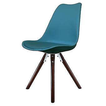Fusion Living Eiffel Inspired Petrol Blue Plastic Dining Chair With Pyramid Dark Wood Legs