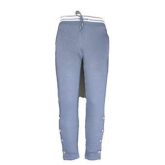 Ultra Flirt Women's Pants Knit Pull On Snap Side Seams Blue