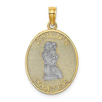 14k Two tone Gold 3 d for boys or girls Night Time Prayer With Girl and Two color Charm - 2.1 Grams