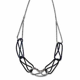 925 Sterling Silver Rhodium and Blue Plated Necklace 18 Inch Jewelry Gifts for Women - 5.8 Grams