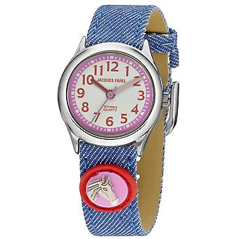 JACQUES FAREL Kids Wristwatch Analog Quartz Girl Textile Ribbon HCC 1955 Horse