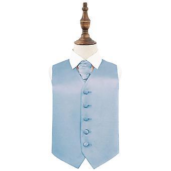 Dusty Blue Plain Satin Hochzeit Weste & Cravat Set für Jungen