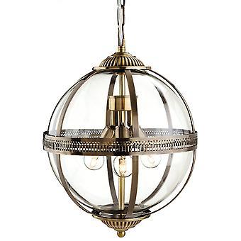 Firstlight Delicate Traditional Bronze Clear Glass Globe Pendant Light