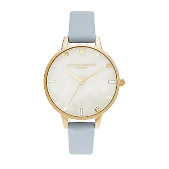 Olivia Burton Watches Ob16gd31 Celestial Chalk Blue & Pale Gold Leather Ladies Watch