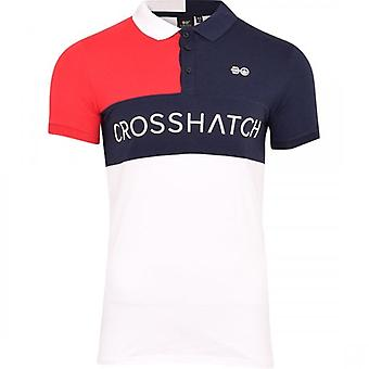 Crosshatch Mens High Quality Crosshatch Polo Shirt Henley Contraste Stripe Painel Rugby Shirt