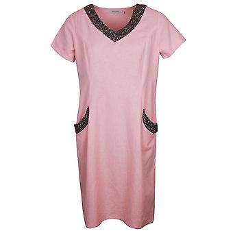 Alice Collins Pink Charlotte Style Short Sleeve Linen Dress With Beaded V Neck