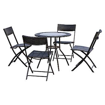 Outsunny 5 PC Rattan Bistro Set 4 Folding Chair Glass Top Round Coffee Table Outdoor Garden Wicker Furniture - Black