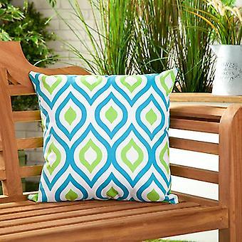 Azul y Lima Abstracta Resistente al Agua Exterior Impreso Jardín Scatter Cushion Cane