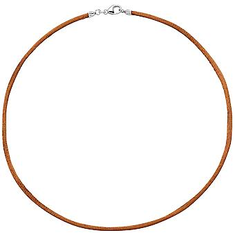 Kvinders halskæde silke kobber 2,8 mm 42 cm, lås 925 sølv kæde
