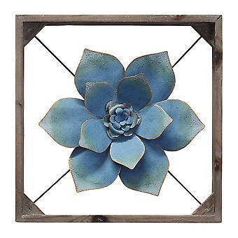 מתכת מתוחכמת & עץ ממוסגר קיר פרח