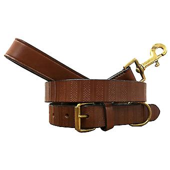 Bradley crompton genuine leather matching pair dog collar and lead set bcdc6tanbrown