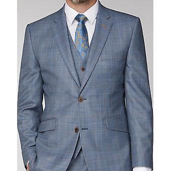 Scott By The Label Light Blue & Tan Check Suit Waistcoat