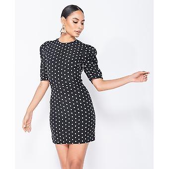 Polka Dot Puffed - Bodycon Mini Dress - Women - Black