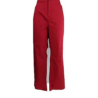 Susan Graver Women's Petite Pants Stretch Twill Fly Front Mini Red A298506