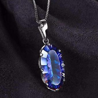 Mystische blaue Regenbogen Feuer 11,8 ct ovaliobi kostbare Edelsteine Anhänger Halskette