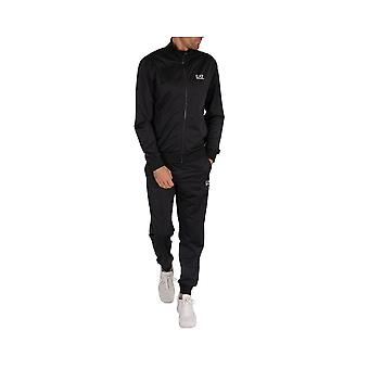 EA7 by Emporio Armani Funnel Neck Zip Black Polyester Tracksuit