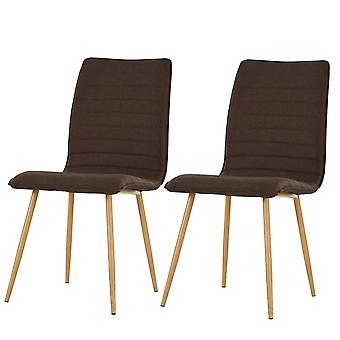 HOMCOM Set of 2 Armless Dining Chairs w/ Metal Frame Linen Upholstery Padding Wood-Effect Legs Foot Pads Simple Modern Style Brown