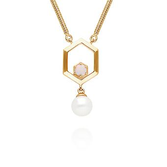 Modern Pearl & Opal Hexagon Drop Necklace in Gold Plated 925 Sterling Silver 270N035701925