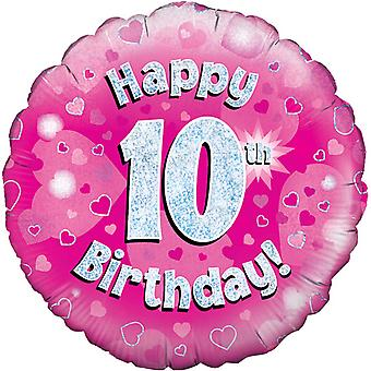 Oaktree 18 Inch Happy 10th Birthday Pink Holographic Balloon