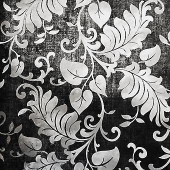 Carbón Floral Fondo de Pantalla Grandeco Pasta La Pared Damasco Plata Metalizado