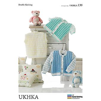 UKHKA Double Knitting Pattern – Baby Long & Short Sleeved Cardigans & Waistcoat 139