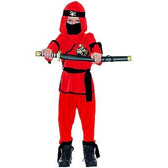 Schattenkrieger rot schwarz Kinder Krieger Kostüm Ninja Ninjakostüm 5-teilig