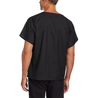 Landau Premium Uniform Reversible One Pocket V-Neck Scrub Top, Black, Medium