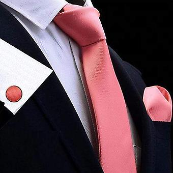 Salmon pink tie cuff link & pocket square set