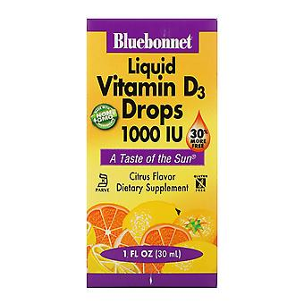 Bluebonnet Nutrition, Gouttes de vitamine D3 liquide, Saveur naturelle d'agrumes, 1 000 UI,