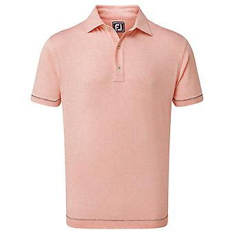 Footjoy Mens Lisle SpaceDye Microstripe Wicking Golf Polo Shirt